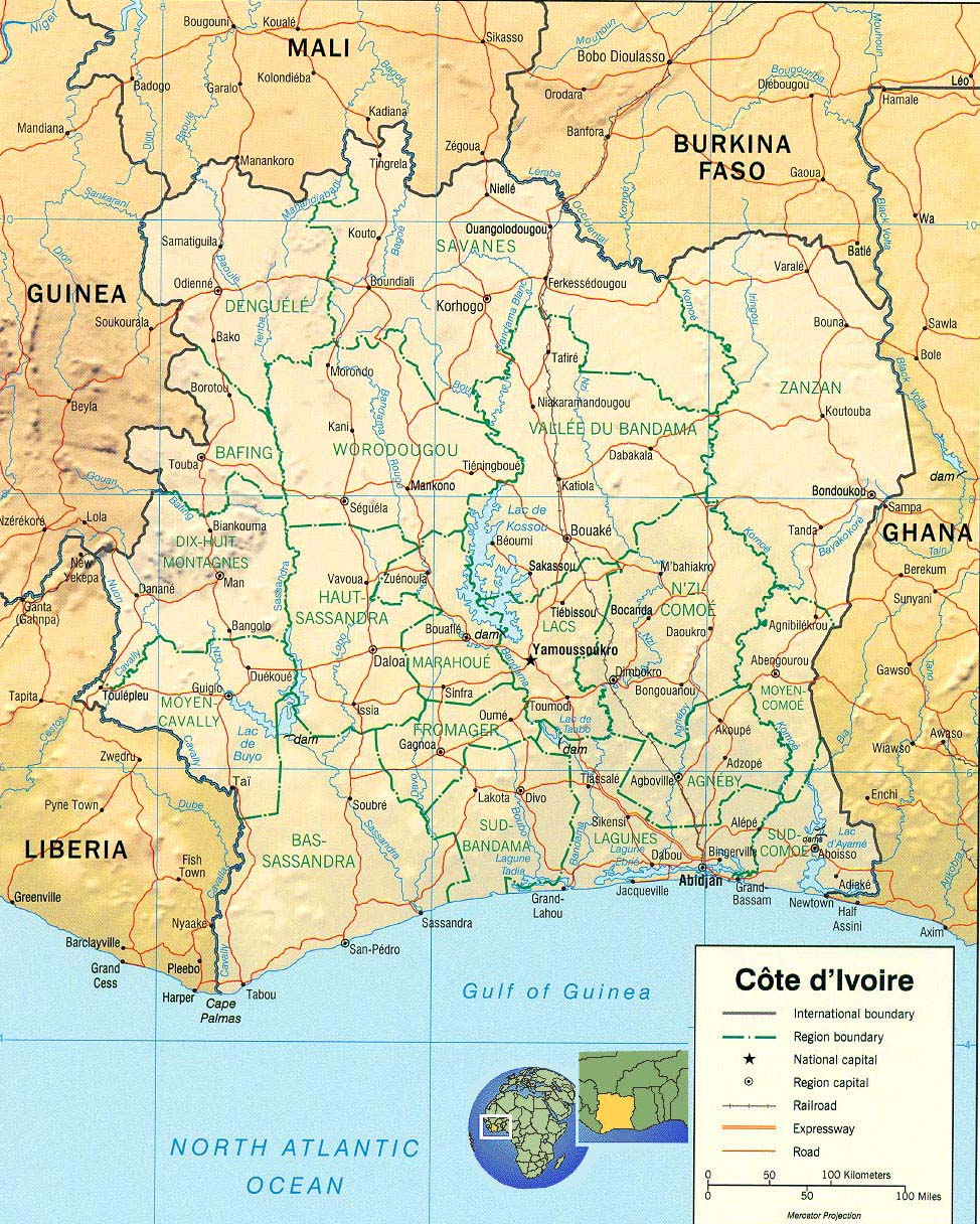 Travels In Africa Map Ivory Coast Cote DIvoire - Ivory coast map of africa
